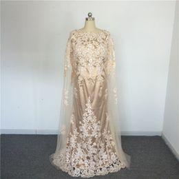 Wholesale Train Shawl Wedding Dress - Elegant O Neck V Back Vestido De Novias Champagne wedding dresses turkey Wedding Gowns With Shawl Lace muslim wedding dress