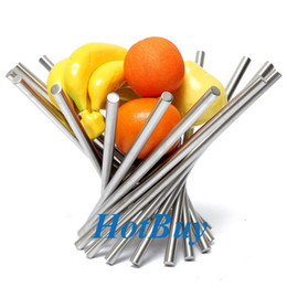 Wholesale Metal Racks Baskets - Stainless Steel Revolving Fruit Rack Tray Holder Bowl Basket Modernism Decro Best Promotion #3845