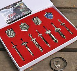 Wholesale Metal Swords - 12 Pcs Set The Legend of Zelda Weapon Sets Link Swords 6-8 Cm Metal Key Ring Necklace Pendant Xmas Gift Freeship