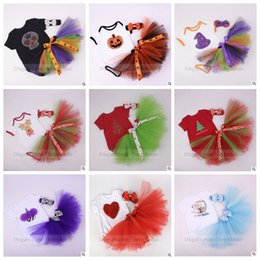 Wholesale Freeze Clothing - Baby Halloween Clothing Sets Christmas Romper Ruffle Skirts Headband Suits Pumpkin Skull Outfits Santa Claus Frozen Halloween Clothing B992