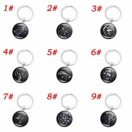 Wholesale Glass Dome Rings - 10pcs Game of Thrones Silver Color Key Chain Stark Wolf Art Glass Dome Pendant Keychain Movie Jewelry Accessories Key Ring Women Gift 9Style