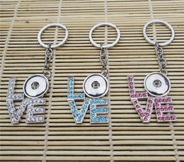 Wholesale Wholesale Copper Metal Keychain - 12pcs lot Mix Colors Fashion Rhinestone Love Keychain Noosa Chunks Metal Ginger 18mm Snap Button Keyring Jewelry For Lovers