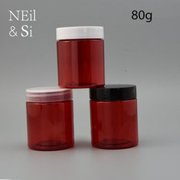 Wholesale Empty Pill Container - 80g Red Plastic Lotion Bottle Refillable Cosmetic Cream Jar Empty Pill Capsule Bath Salts Package Container Free Shipping