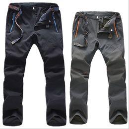 Wholesale Trekking Trousers - Wholesale-Outdoor men solfshell trousers waterproof climbing pants mountaineering Quick dry camping senderismo trekking hiking pants