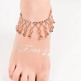 Wholesale Belly Dancing Ankle Bracelet - 2015 new sexy foot jewelry anklet for women rose gold ankle bracelet BELL JANGLE anklets belly dance free shipping Ak00050