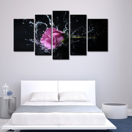 Wholesale Rose Wall Art - 5 Panel Wall Art Purple Lavender Rose Splashing Into Water Painting The Picture Print On Canvas Flower Pictures For Home Decor Decoration