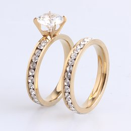 Wholesale Womens 18k Gold Rings - Hot Sale 12pairs Men Womens Wedding Couple Rings 316L Stainless Steel Gold Plated Crystal Fahion Jewelry Engagement Band Ring