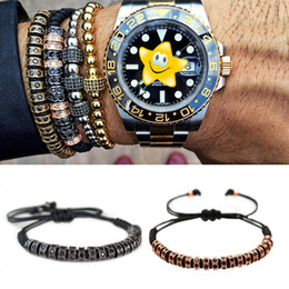 Wholesale 24k Bracelet Set - BC Anil Arjandas Men Macrame Bracelets,24K Gold Plated Micro Pave Black CZ Stoppers Beads Briading Macrame Bracelet For Men Women BC-214