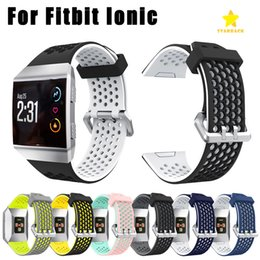 Wholesale fitbit accessories - For Fitbit Ionic Band Watchbands Lightweight Ventilate Silicone Perforated Accessory Sport Bands for Fitbit Ionic Dual Color Bands