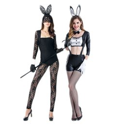 Wholesale Ds Bar - Bunnies Bunny suit black patent leather sling cute bunny costumes bar ds sexy suit