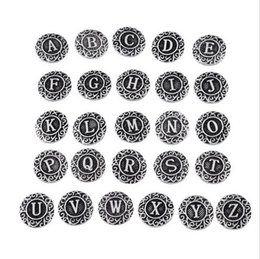 Wholesale Figure Earrings - Vintage Silver 18mm Noosa Chunks DIY Alloy Clasps with Carved Figure Dutch 26 Letters Snap Buttons fit Noosa Bracelet Necklace Ring Earrings