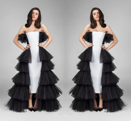 Wholesale Green Pines - Sexy Black And White Pine Shape Evening Dresses Strapless Tulle Layers Tiered Prom Dresses High Low Formal Party Dresses For Women