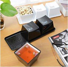 Wholesale Tea Sets Tray White - 3pcs Set Novelty Creative Simple Keyboard Ctrl ALT DEL Type Tea Coffee Mug Cup Container