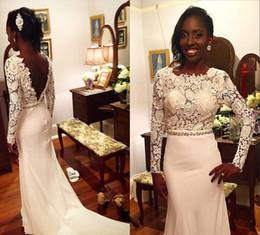 Wholesale Girls Chrismas Dress - 2016 Black Girls Dresses Evening Dresses Backless Long Sleeves Alpplique Lace Formal Evening Gowns Celebrity Red Carpet Runaway Dresses