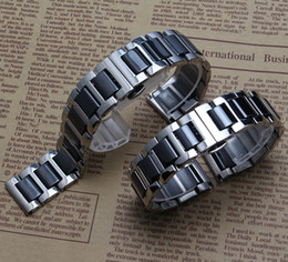 Wholesale Men Black Ceramic Bracelets - New Black Ceramic Straight end Watchband common watch accessories strap bracelets for gear S2 diamond watchbands men women 16 18 20mm 22mm