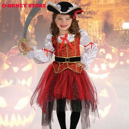 Wholesale Pirate Princess Halloween Costume - 2016 New Halloween Christmas pirate costumes girls party cosplay costume for children kids clothes halloween costumes