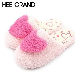 Wholesale House Keeping - Wholesale- HEE GRAND Thick Fur Cotton Slippers Heart-Shaped Living Room Women's Indoor House Shoes Anti-slip Warm Keep Floor Shoes XWM124