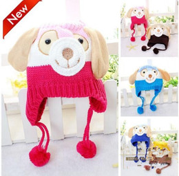 Wholesale Dog Baby Winter Cap - Kids Crochet Christmas Beanie Hats Animal Dog Shaped Knitted Baby Caps Boy Girl Winter Hat for Child Keep Warm Multi Colors for 0-4T
