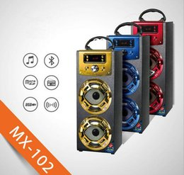 Wholesale Portable Outdoor Stage - MX102 MX-102 Portable Karaoke Player Wireless Bluetooth Speaker Support TF Card FM Radio With Light For Stage Home Theatre Outdoor