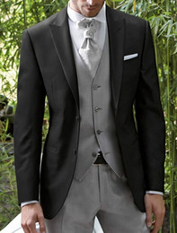 2019 vestito blu da promenade collare nero All'ingrosso-Fashion Style One Button Smoking dello sposo nero Groomsmen Abiti da sposa per uomo Prom Bridegroom (Jacket + Pants + Vest) K: 1005