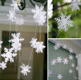 Wholesale Wholesale Paper Snowflake Decorations - Party Supplies 3M Silver Snowflake Shape Paper Garland Christmas Wedding Decoration Scene New Year Decoration G925