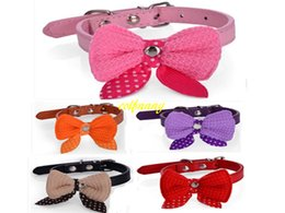 Wholesale Wholesale Dog Bows Solid Colors - 200pcs lot Fast shipping Pet collar Wool bow tie PU dog collar Cat Pet Neck Strap 8 colors