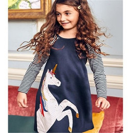 Wholesale Baby Full - Girls Jersey Cotton Unicorn Applique Children Tunic Dress Clothing Long Sleeve Baby Girl Dress for Kids Party Dress