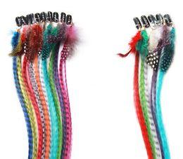 une pièce clip extensions de cheveux blonds Promotion 100pcs mode femmes clip en extension de cheveux de plumes coloré morceau de cheveux 16 pouces 40 cm de long droite livraison gratuite