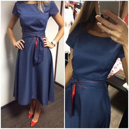 Wholesale Dots Polka Waist Dress - Robe automne 2016 fashion women's dress print retro Hepburn turmoil points waist tied with large swing leisure dresses for party