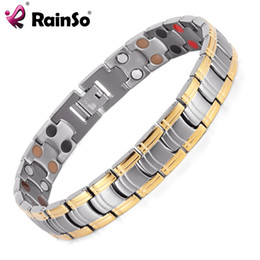 Wholesale Magnetic Jewelry Bracelet Health - Rainso Men Jewelry Bio Energy Gold Plated Magnetic Health Bracelet Men Bracelets & Bangles Stainless Steel Bracelets For Women
