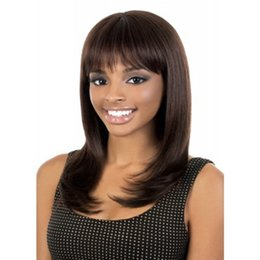 Wholesale Dark Brown Synthetic Wigs - Shipping in 24 Hours New Arrival Hot 75cm Long Dark Brown Straight Synthetic Ladys' Hair Wig Full Wigs