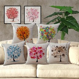 Wholesale New Life Covers - NEW Cotton Linen Square Cushion Cover Heart Flower Tree of Life Printed Throw Pillow Case Home Sofa Decor