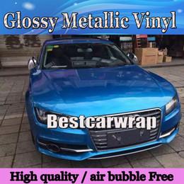 pegatina brillante azul Rebajas Etiqueta engomada del abrigo del coche del vinilo azul brillante de Midnight Metallic Con película de envoltura azul brillante brillante libre de burbujas de aire Vhicle que cubre la lámina: 1.52 * 20M / Rol l