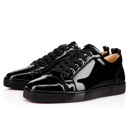 Wholesale Patent Leather Boat Shoes - France Prefer Red Bottom Junior Men's Flat Spikes Black Calf Genuine Leather High Low Roller-Boat Shoes Pik Orlato Boat Shoes