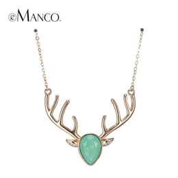 Wholesale Deer Choker - Wholesale-eManco brand image deer necklace crystal copper animal pendant lovers gifts choker necklaces for women bisuteria mujer