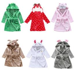 Wholesale Long Sleeve Fleece Robe - 8styles Children Cartoon animal Hoodie Coral Fleece Bathrobe Unisex Kids cute animal Robe Pajamas Sleepwear Flannel Night-gown Fall Winter