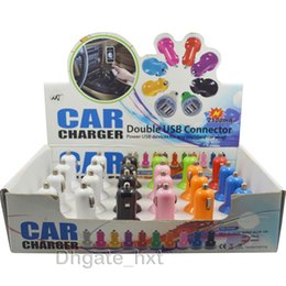 Wholesale Mini Car Charger Usb Box - display box 2.1A dual mini usb car charger with many colors charge for ipad iphone samsung tablet pc with many colors