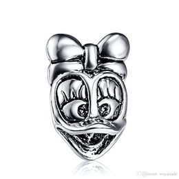 Wholesale Donald Duck Charms - New42 Hot23 Wholesale Donald Duck Charm 925 Sterling Silver European Charms Beads Fit Bracelet Snake Chain Women Fashion DIY Jewelry