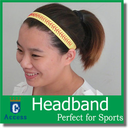 Wholesale Elastic Sport Hair Band - Softball Headbands - Yellow Leather with Red Stitching Seam Fastpitch Stretch Elastic Sport hair band 20 color in stock