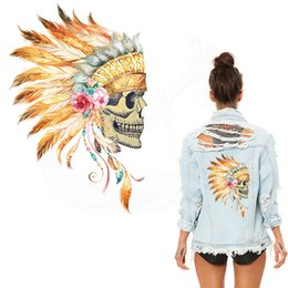 Wholesale Iron Patches Skulls - Popular American Indian style Feathers Skull stickers Patches Iron-on Transfers DIY T-shirt Hoodies Patches For Clothes free shopping
