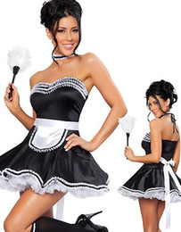 Wholesale Classic Maid Costume - New Classic Strapless Halloween CosPlay Outfit Black Ruffle Hem Off-shoulder Fifi French Maid Fancy Dress Costume W348194