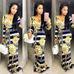Damen casual satin kleider online-Sexy Maxi Casual Dress Long Sleeves Blume Farbe Longuette Mode Rock Schärpen Kleidung Damen Bodycon Arbeit Denim Günstige Kleider