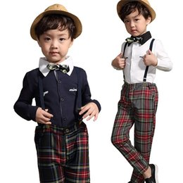 Wholesale British Boys - PrettyBaby 2pcs Fashion British Style Spring Autumn Long Sleeve Plaid Suit For Kid Children Boy Clothes Sets Shirt Pants Bow Brace