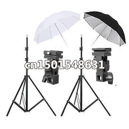 Wholesale Flash Light Stand Umbrella Kit - Flash Mount Bracket Kit Light Stand Flash Bracket B Mount 33 inch Umbrella Black Reflective Umbrella+white studio Umbrella