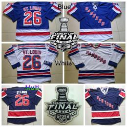 Rangers stanley cup online-2014 Stanley Cup New York Rangers St. Louis Jerseys # 26 Martin St. Louis Jersey Home Royal Blue Road Jerseys de hockey cosidos en blanco