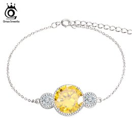Wholesale Gold Chain Top - ORSA Newest Design Top Grade 6 CT Yellow Simulated Diamond Zircon Fashion Bracelet on White Gold Plated For Women OB32