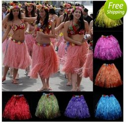 Wholesale Hawaii Costume - 10pcs lot Party Grass Skirt 8 Colors Women Hawaii Dance Show Performance Skirts Bar Club Festives Party Supply Store