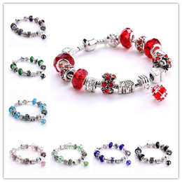 Wholesale Style Murano Glass Rings - DHL FREE 925 Silver European Beads Bracelets Daisies Murano Glass&Crystal European Charm Beads Fits European Style Bracelets 12 colors