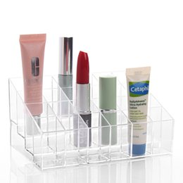 Wholesale Cosmetic Display Cases - 24 Lipstick Holder Display Stand Clear Acrylic Cosmetic Organizer Makeup Case Sundry Storage makeup cosmetics sample rack