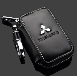 Wholesale Premium Leather Cases - Mitsubishi Key Case Premium Leather Car Key Chains Holder Zipper Remote Wallet Bag for Mitsubishi key cover accessories Key Bag
